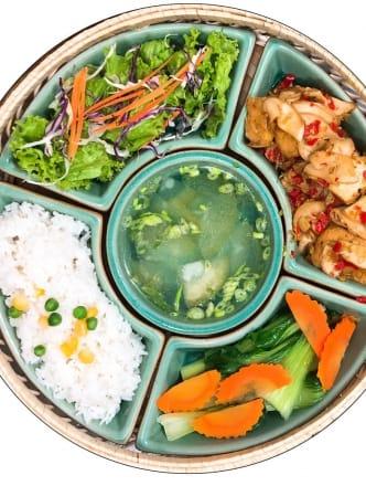 Spicy mushroom & tofu rice set