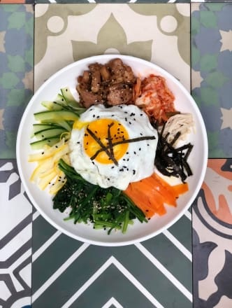 Brown Rice Bibimbap with Spicy Chicken